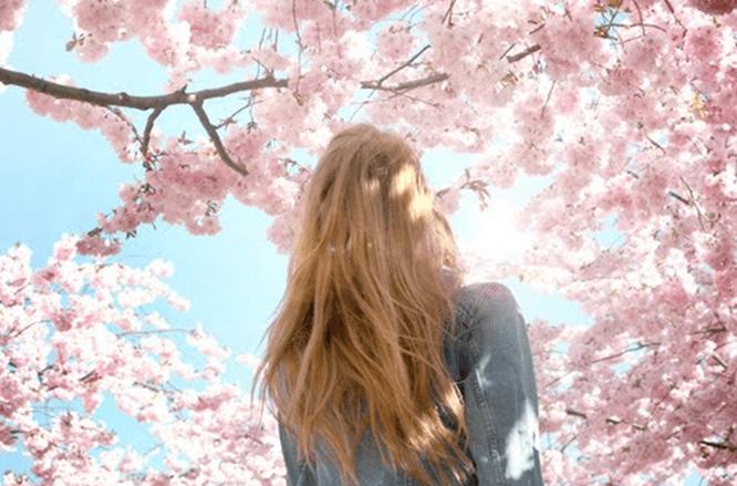 Menina de costas olhando para uma cerejeira, prestes a tomar uma decisão